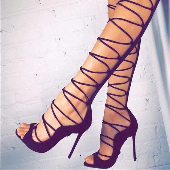 ASOS Shoes   Nib Black Tall Gladiator
